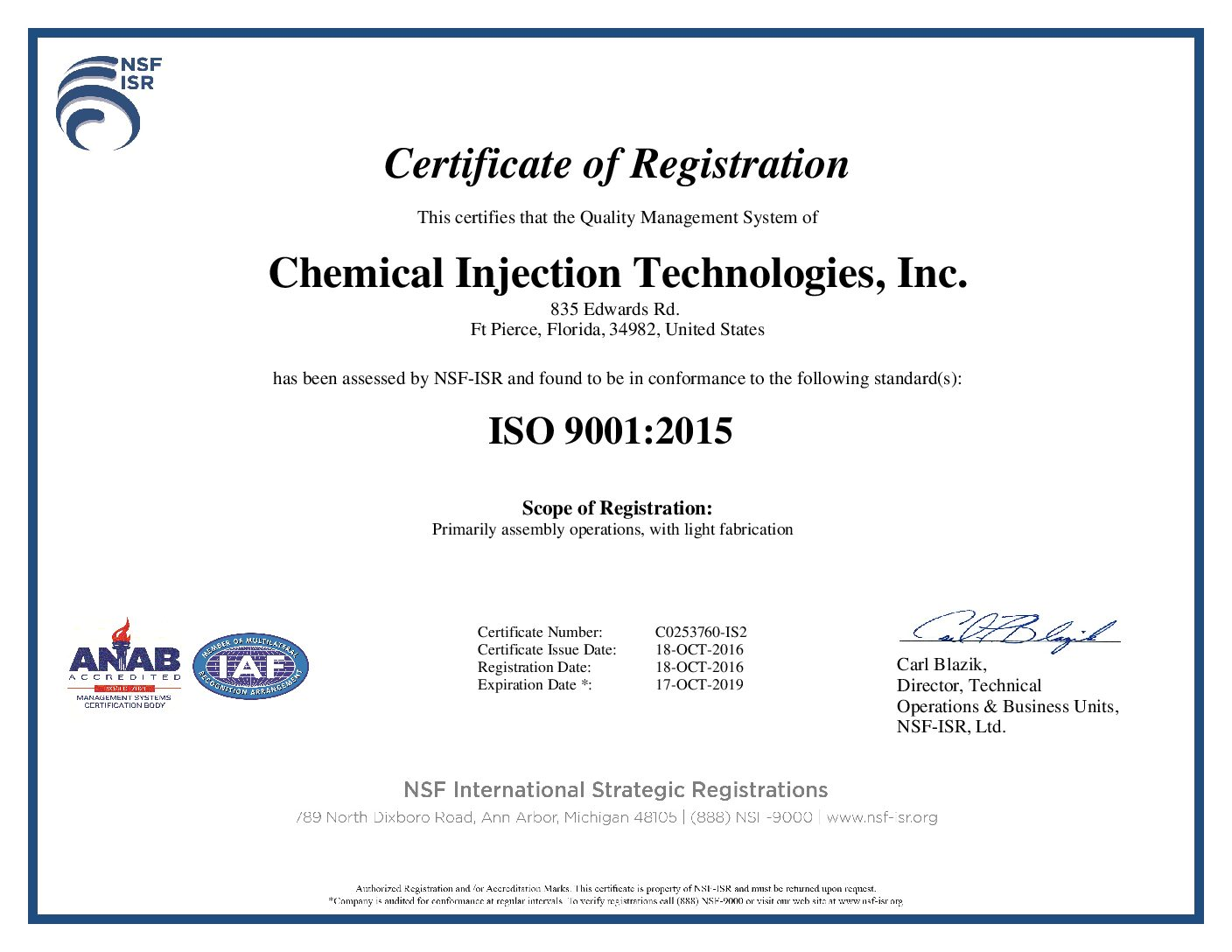 Chemical Injection Technologies Inc ISO Certified