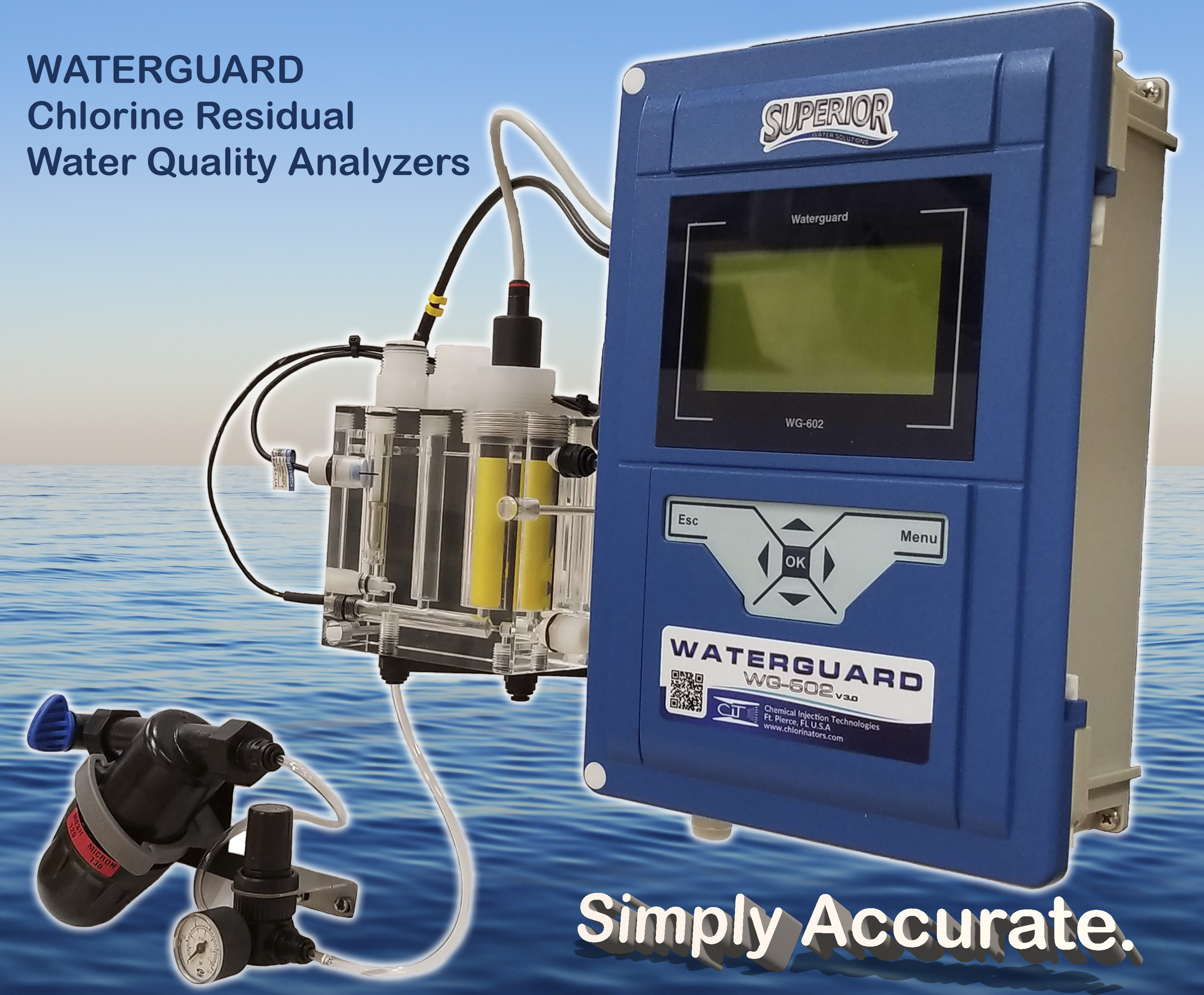 chlorine, residual, analyzer, water quality, water solutions, gas chlorinator, superior, chloramine, instrumentation,