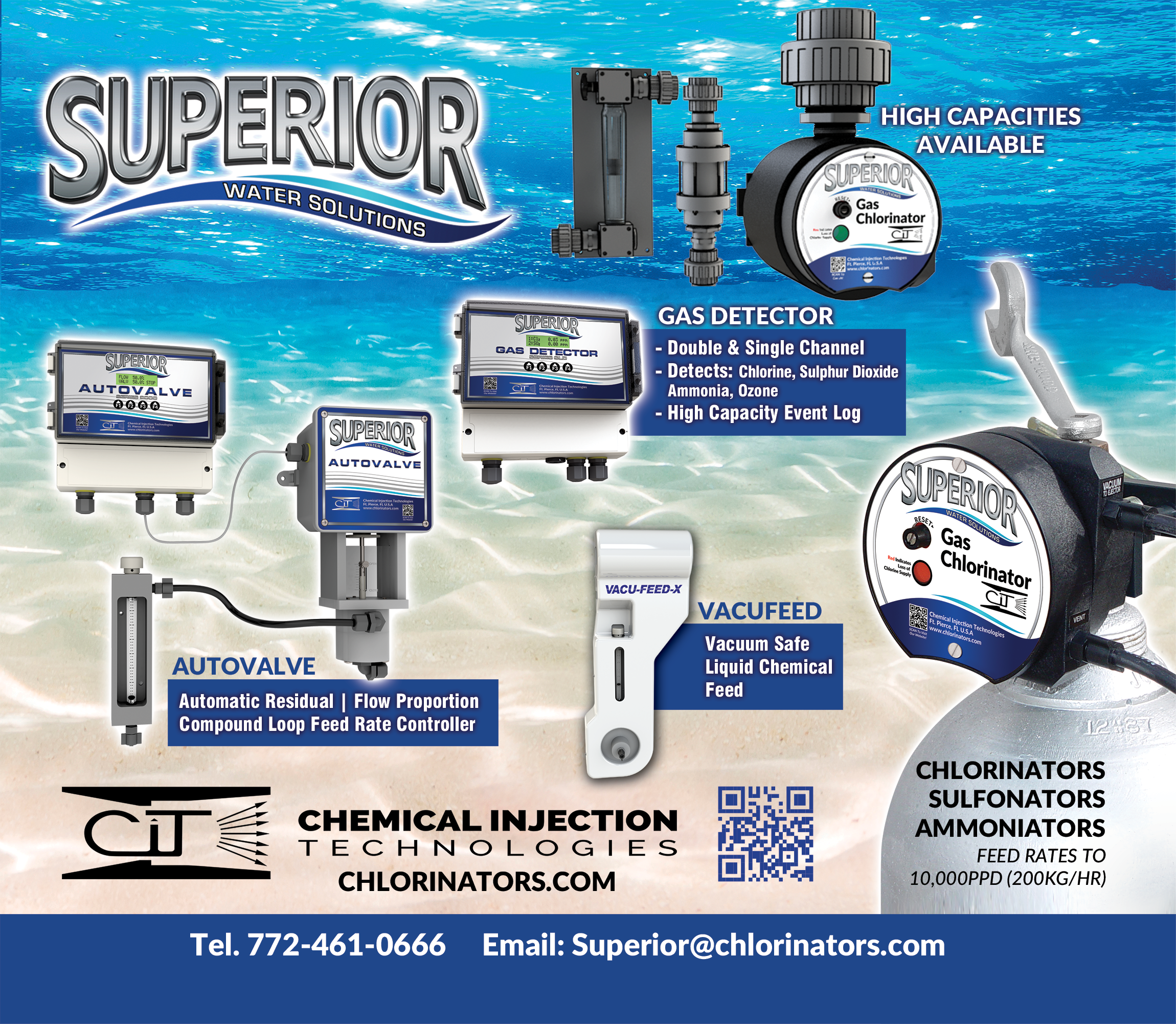 Superior gas chlorinator, chlorination, chlorine, sanitize, disinfect, irrigation, water treatment, control valve, analyzer, flow proportioning, wastewater plant, chemical feed pump, chicken process